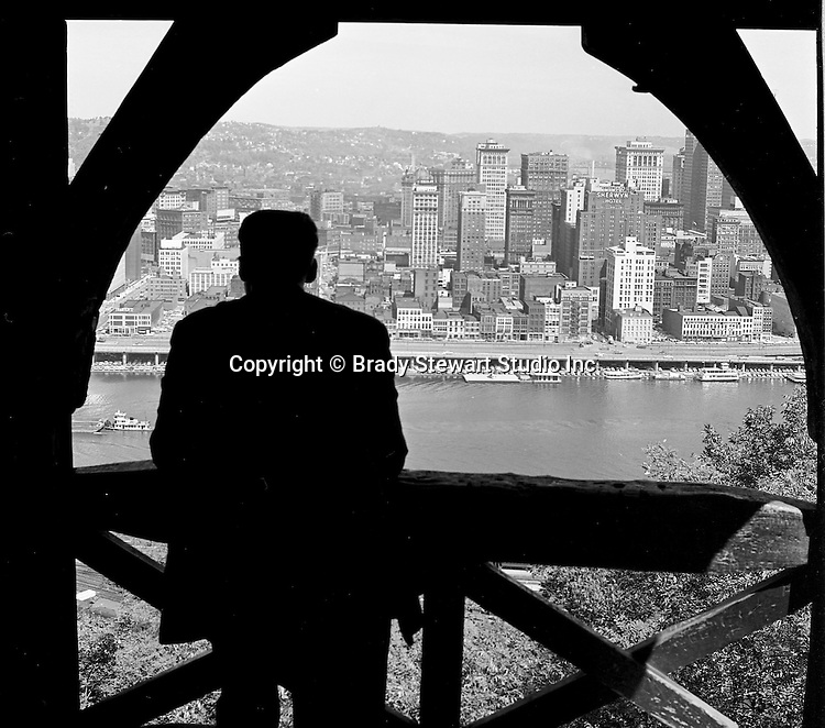 Pittsburgh PA:  View of Pittsburgh from one of the observation decks on Mt Washington - 1964.