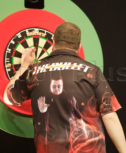 2.04.2015.  Manchester, England. Betway Premier League Darts. Judgement Night. The shirt of series debutant Stephen Bunting.