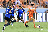 Houston, TX - Sunday August 13, 2017:  Sydney Leroux and Cari Roccaro during a regular season National Women's Soccer League (NWSL) match between the Houston Dash and FC Kansas City at BBVA Compass Stadium.