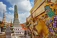 Khon figures guarding stupa, Wat Phra Kaeo, Bangkok, Thailand