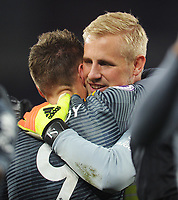 Leicester City's Jamie Vardy embraces Kasper Schmeichel after the match<br /> <br /> Photographer Kevin Barnes/CameraSport<br /> <br /> The Premier League -  Cardiff City v Leicester City - Saturday 3rd November 2018 - Cardiff City Stadium - Cardiff<br /> <br /> World Copyright © 2018 CameraSport. All rights reserved. 43 Linden Ave. Countesthorpe. Leicester. England. LE8 5PG - Tel: +44 (0) 116 277 4147 - admin@camerasport.com - www.camerasport.com