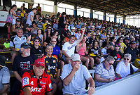 Fans take their seats for the Super Rugby preseason match between the Hurricanes and Crusaders at Levin Domain in Levin, New Zealand on Saturday, 2 February 2019. Photo: Dave Lintott / lintottphoto.co.nz