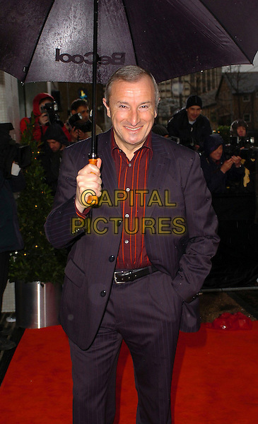 "JIM ROSENTHAL.Arrivals for ""An Audience With Coronation St."" recording at LWT Studios, London, UK..Ref: CAN.street half length blue suit jacket umbrella.www.capitalpictures.com.sales@capitalpictures.com.©Capital Pictures"