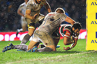 Maxime Mermoz of Leicester Tigers looks to reach the Exeter Chiefs try line. Aviva Premiership match, between Leicester Tigers and Exeter Chiefs on March 3, 2017 at Welford Road in Leicester, England. Photo by: Patrick Khachfe / JMP