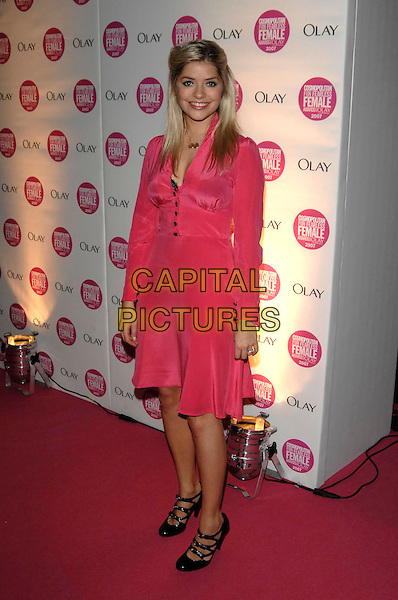 HOLLY WILLOUGHBY.Arrivals - Cosmopolitan Fun Fearless Female Awards 2007 held at Cirque, Leicester Square, London, England, November 6th 2007. .full length bright pink dress bra green eyeliner black mary jane shoes.CAP/PL.©Phil Loftus/Capital Pictures