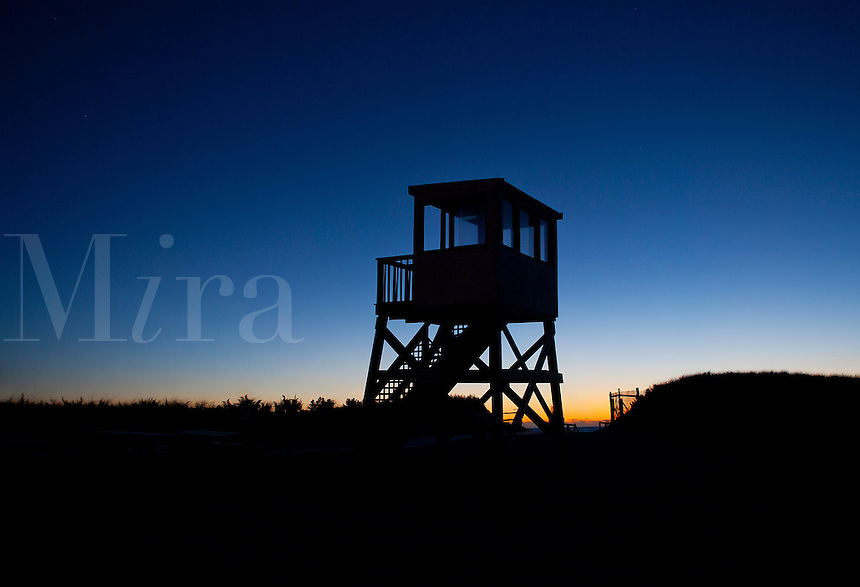 Lifeguard stand at dawn, Cape Cod, Massachusetts, USA