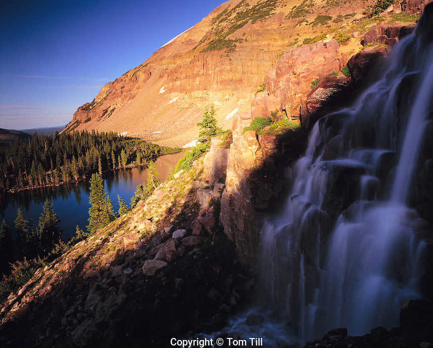 Falls at Mount Agassiz, High Uintas Wilderness, Utah    Wasatch/Cache National Forest