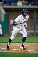 Tri-City Dust Devils Logan Driscoll (19) runs toward first base during a Northwest League game against the Vancouver Canadians at Gesa Stadium on August 21, 2019 in Pasco, Washington. Vancouver defeated Tri-City 1-0. (Zachary Lucy/Four Seam Images)