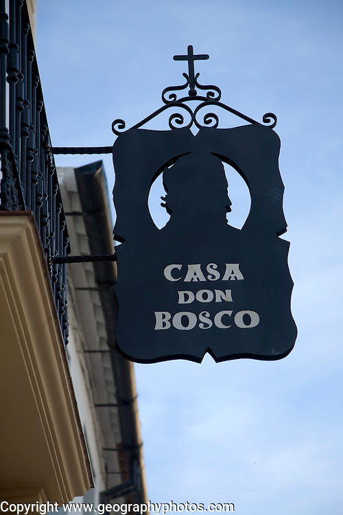 Sign for house and museum of the Casa don Bosco in the old city, Ronda, Spain