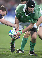 Ireland loose head Paul Karayiannis tries to get the ball away during the Division A clash in the U19 World Championship at Ravenhill.