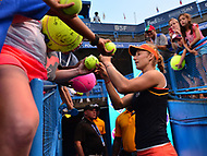 Washington, DC - August 6, 2017: Ekaterina Makarova signs autographs for fans after winning the Citi Open women's championship at the Rock Creek Tennis Center in Washington, D.C., August 6, 2017.  Makarova beat Julla Goerges during the finals match. (Photo by Don Baxter/Media Images International)