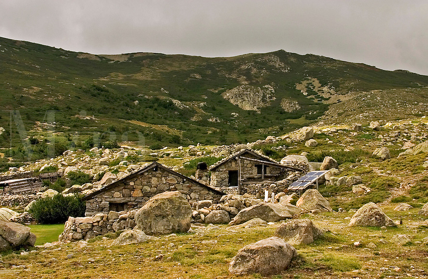 Corsica. Fium'Orbo. Summer shepherds' houses with solar panel, near the Pozzis, peat bogs, and Col de Verde. France..