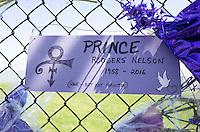 "Prince Rogers Nelson 1958-2016 ""Gone but not forgotten"" ""Love Symbol"" poster. Paisley Park Studios Chanhassen Minnesota MN USA"