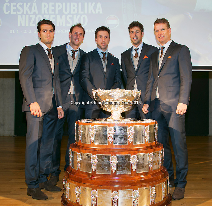 29-01-14,Czech Republic, Ostrava, Cez Arena, Daviscup Czech Republic vs Netherlands, Official Diner, Dutch team in suits, l.t.r.: Jean-Julien Rojer, Thiemo de Bakker, Igor Sijsling,Robin Haase and captain Jan Siemerink.<br /> Photo: Henk Koster