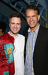 Manoel Felciano and Brian Stokes Mitchell during the Actors' Equity Broadway Opening Night Gypsy Robe Ceremony honoring Manoel Felciano for 'Amelie' at the Walter Kerr Theatre on April 3, 2017 in New York City