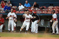 Illinois State Redbirds Dennis Colon (1) celebrates a walk off win during a game against the Bowling Green Falcons on March 11, 2015 at Chain of Lakes Stadium in Winter Haven, Florida.  Illinois State defeated Bowling Green 8-7.  (Mike Janes/Four Seam Images)