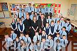 GREAT DAY: A great day for the pupils of Scoil Chriost Ri, Dromnacurra, Causeway, as Micheal O Muircheartaigh officially opened the extension to the school on Tuesday. Also pictured are Fr John Kennelly and Regina OConnor (Principal)..
