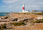 Red and white lighthouse on the coast at Portland Bill, Isle of Portland, Dorset, England, UK