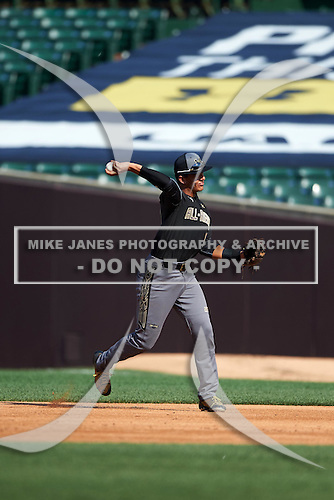 Colton Welker (13) of Marjory Stoneman Douglas High School in Coral Springs, Florida during the Under Armour All-American Game on August 15, 2015 at Wrigley Field in Chicago, Illinois. (Mike Janes/Four Seam Images)