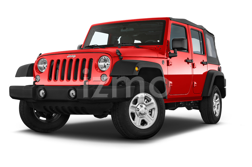 Stock pictures of low aggressive front three quarter view of a 2015 JEEP Wrangler Unlimited Sport 5 Door Sport Utility Vehicle Low Aggressive