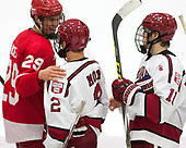 Alec McCrea (Cornell - 29), Tyler Moy (Harvard - 2), Ty Pelton-Byce (Harvard - 11) - The Harvard University Crimson defeated the visiting Cornell University Big Red on Saturday, November 5, 2016, at the Bright-Landry Hockey Center in Boston, Massachusetts.