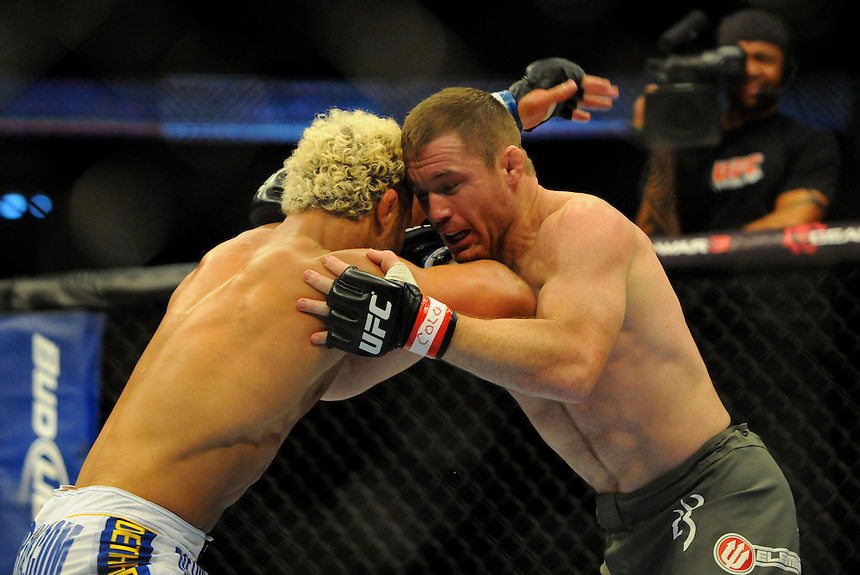 24 SEPTEMBER 2011:   Josh Koscheck in the ring with Matt Hughes  during UFC 135 at the Pepsi Center in Denver, Colorado. *****For Editorial Use Only*****