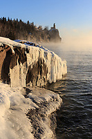 Sea smoke was rising from Lake Superior while the morning sun warmed the icy rocks. This scene was worth braving the frigid -25°  air temperature. This great lake provides a new view every day.