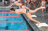Jack Sinclair '15 dives at the start of the men's 200 yard freestyle. The Occidental College swim team competes against Lewis & Clark College and Westminster College in Taylor Pool on Jan. 6, 2015. (Photo by Marc Campos, Occidental College Photographer)