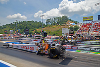 Jun 21, 2015; Bristol, TN, USA; NHRA top fuel driver Richie Crampton during the Thunder Valley Nationals at Bristol Dragway. Mandatory Credit: Mark J. Rebilas-USA TODAY Sports