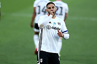 10th July 2020; Craven Cottage, London, England; English Championship Football, Fulham versus Cardiff City; Aleksandar Mitrovic of Fulham celebrates after he scores from the penalty spot for 1-0 in the 35th minute