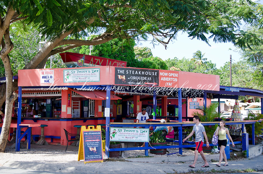 Lazy Jacks bar and grill along the Malecon in Esperanza, Vieques.Puerto Rico