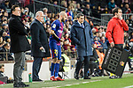Nelson Semedo of Barcelona (L) talks to FC Barcelona Head Coach Ernesto Valverde (R) before getting into the field during the La Liga 2017-18 match between FC Barcelona and Deportivo La Coruna at Camp Nou Stadium on 17 December 2017 in Barcelona, Spain. Photo by Vicens Gimenez / Power Sport Images