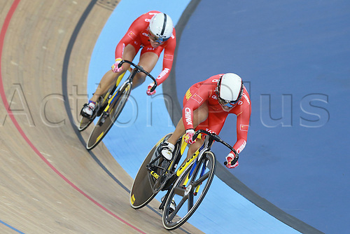 04.03.2016. Lee valley Velo Centre. London England. UCI Track Cycling World Championships Womens team sprint final.  Team China GONG Jinjie - ZHONG Tianshi