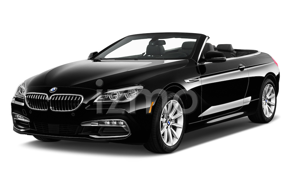 2016 BMW 6 Series 640i Black Accent Pkg 2 Door Convertible Angular Front stock photos of front three quarter view