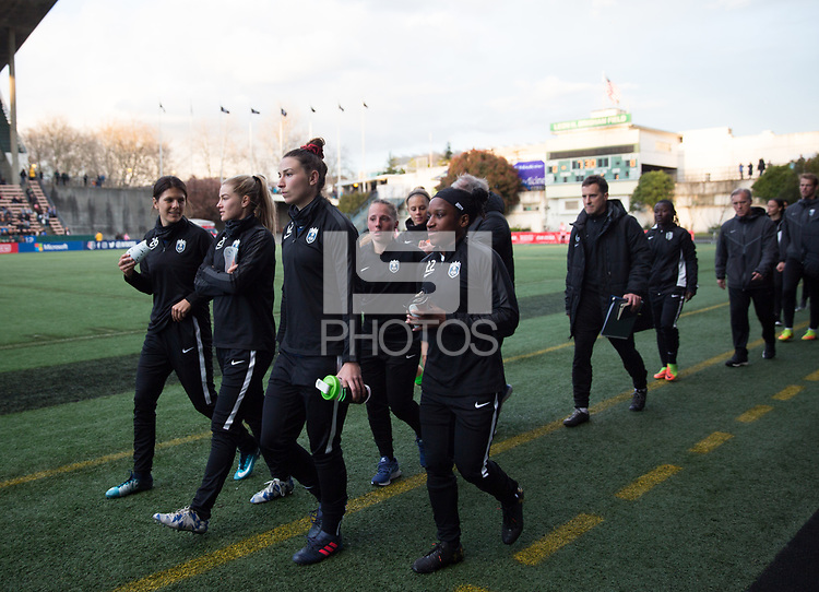 Seattle, WA - Saturday March 24, 2018: Morgan Andrews, Jasmyne Spencer during a regular season National Women's Soccer League (NWSL) match between the Seattle Reign FC and the Washington Spirit at the UW Medicine Pitch at Memorial Stadium.