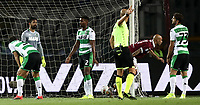Calcio, Serie A: Torino - Sassuolo, Olympic stadium Grande Torino, August 25, 2019.<br /> Torino's Simone Zaza (second from right) celebrates after scoring during the Italian Serie A football match between Torino and Sassuolo at Olympic stadium Grande Torino, August 25, 2019.<br /> UPDATE IMAGES PRESS/Isabella Bonotto