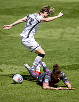 Leeds United's Kalvin Phillips competing with Swansea City's Conor Gallagher (left) <br /> <br /> Photographer Andrew Kearns/CameraSport<br /> <br /> The EFL Sky Bet Championship - Swansea City v Leeds United - Sunday 12th July 2020 - Liberty Stadium - Swansea<br /> <br /> World Copyright © 2020 CameraSport. All rights reserved. 43 Linden Ave. Countesthorpe. Leicester. England. LE8 5PG - Tel: +44 (0) 116 277 4147 - admin@camerasport.com - www.camerasport.com