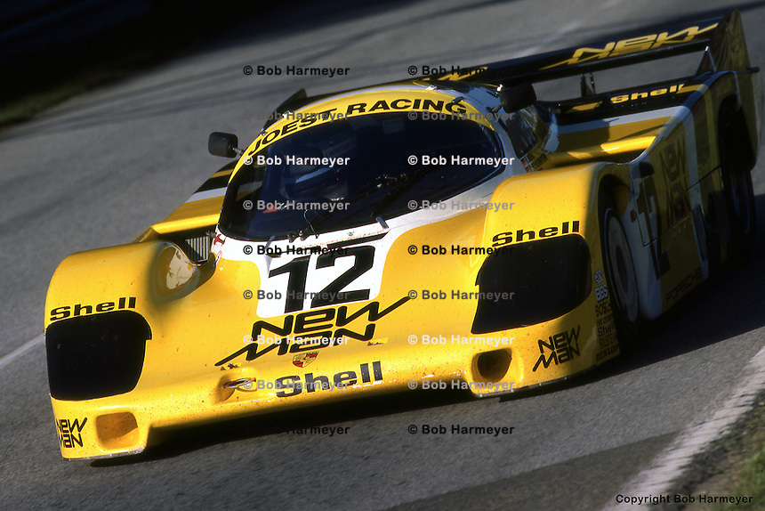 LE MANS, FRANCE: The #12  Porsche 956 105 driven by John Winter, with teammates Volkert Merl and Dieter Schornstein, enters the Arnage corner during practice for the 24 Hours of Le Mans on June 17, 1984, at the Circuit de la Sarthe in Le Mans, France.