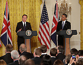 Prime Minister David Cameron of Great Britain speaks during a news conference with United States President Barack Obama, May 13, 2013 at The White House in Washington, DC. .Credit: Chris Kleponis / CNP