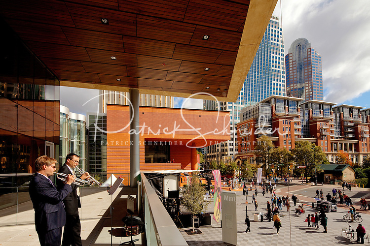 Musicians perform on the second level balcony of the Mint Museum Uptown during the Wells Fargo Community Celebration, held October 29, 2011 in downtown Charlotte NC. The daylong festival took place in the streets, in public atriums and in downtown museums, which offered free admission all day long. Wells Fargo, which this month completed its conversion from Wachovia, picked up the bill.
