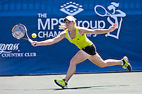 April 9, 2010:  MPS Group Championships.   Melanie Oudin (USA) goes wide for a forehand return against Elena Vesnina (RUS) (not pictured) during Quarterfinal singles action at the MPS Group Championships played at the Sawgrass Country Club in Ponte Vedra, Florida. Elena Vesnina (RUS) defeated Melanie Oudin (USA) 6-2, 6-1 to move to the Semifinals...