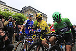 Marcel Kittel (GER) Quick-Step Floors greets race leader Yellow Jersey Geraint Thomas (WAL) Team Sky lined up for the ceremonial start of Stage 2 of the 104th edition of the Tour de France 2017, running 203.5km from Dusseldorf, Germany to Liege, Belgium. 2nd July 2017.<br /> Picture: Eoin Clarke | Cyclefile<br /> <br /> <br /> All photos usage must carry mandatory copyright credit (&copy; Cyclefile | Eoin Clarke)