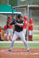 GCL Marlins catcher Jan Mercado (10) at bat during the second game of a doubleheader against the GCL Nationals on July 23, 2017 at Roger Dean Stadium Complex in Jupiter, Florida.  GCL Nationals defeated the GCL Marlins 1-0.  (Mike Janes/Four Seam Images)