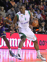 20.03.2012 Barcelona, Spain. Euroleague Playoff game 1. Picture show Terrell Lyday (R) and Pete Mickeal (L)) in action during match between FC Barcelona Regal against Unics Kazan at Palau Blaugrana
