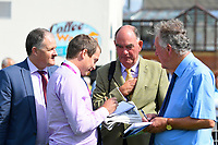 Trainer Henry Candy speaks to members of the Press after winning The First Carlton Fillies' Handicap with Raincall during Horse Racing at Salisbury Racecourse on 15th August 2019