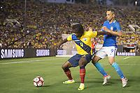 Action photo during the match Brazil vs Ecuador, Corresponding Group -B- America Cup Centenary 2016, at Rose Bowl Stadium<br /> <br /> Foto de accion durante el partido Brasil vs Ecuador, Correspondiante al Grupo -B-  de la Copa America Centenario USA 2016 en el Estadio Rose Bowl, en la foto: (i-d) Juan Carlos Paredes de Ecuador y Jonas de Brasil<br /> <br /> <br /> 04/06/2016/MEXSPORT/Omar Martinez.