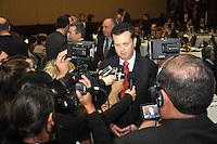 """SAO PAULO, SP, 28 DE JUNHO 2012 – HOMENAGEM MICHEL TEMER - O prefeito Gilberto Kassab durante evento em que o vice-presidente da Republica Michel Temer, e homenageado com o  premio """"Personalidade do Ano"""" atraves da Associacao Brasileira da Industria Grafica no WTC do Sheraton Hotel na região sul da capital paulista, nesta quinta-feira, 28. (FOTO: THAIS RIBEIRO / BRAZIL PHOTO PRESS)."""