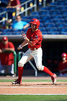 Clearwater Threshers center fielder Zachary Coppola (19) follows through on a swing during the first game of a doubleheader against the Palm Beach Cardinals on April 13, 2017 at Spectrum Field in Clearwater, Florida.  Clearwater defeated Palm Beach 1-0.  (Mike Janes/Four Seam Images)
