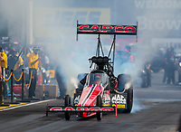 Jul 18, 2020; Clermont, Indiana, USA; NHRA top fuel driver Billy Torrence during qualifying for the Summernationals at Lucas Oil Raceway. Mandatory Credit: Mark J. Rebilas-USA TODAY Sports