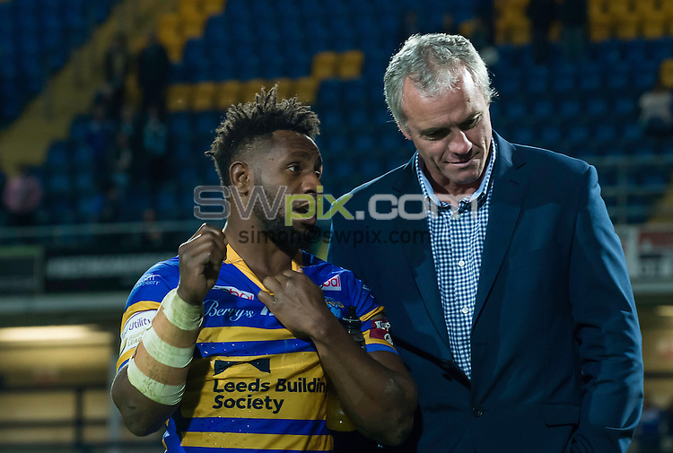 Picture by Allan McKenzie/SWpix.com - 22/09/2016 - Rugby League - First Utility Super League - The Qualifiers - Leeds Rhinos v Leigh Centurions - Headingley Carnegie Stadium, Leeds, England - Leeds's James Segeyaro and coach Brian McDermott talk after the game against Leigh.